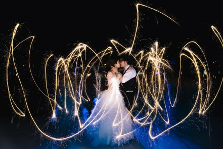 Night Wedding Photo with sparklers